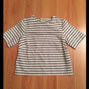 ASOS Gray White Striped Short Sleeve Top